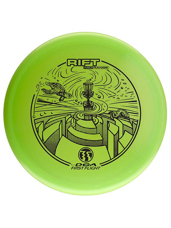 DGA Rift midrange disc first flight green custom Dorn Art