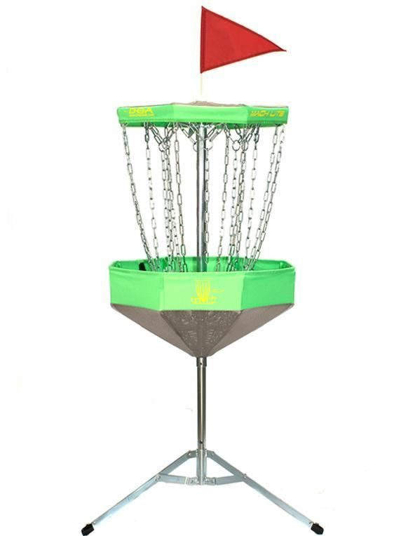 Mach Lite Portable Practice Basket Foldable Disc Golf Target-Bright Green Full View
