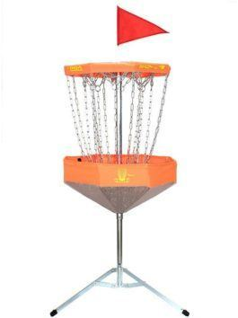Mach Lite Portable Practice Basket Foldable Disc Golf Target-Orange Full View