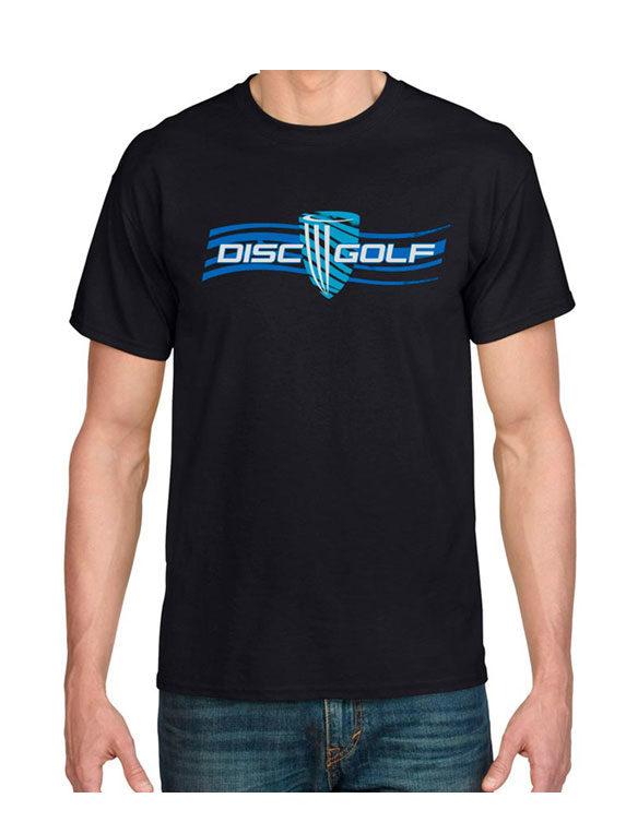 mens-disc-golf-black-flow-tee-shirt-front